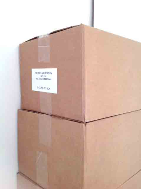 Boxes of contemporary African art books arriving at the studio