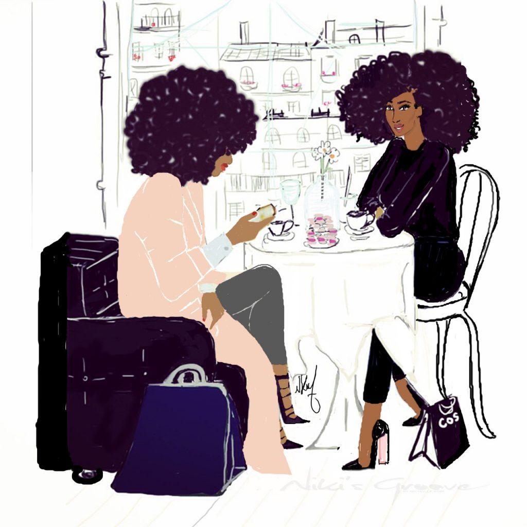 Café time Fashion Illustration Nicholle Kobi nikisgroove.com