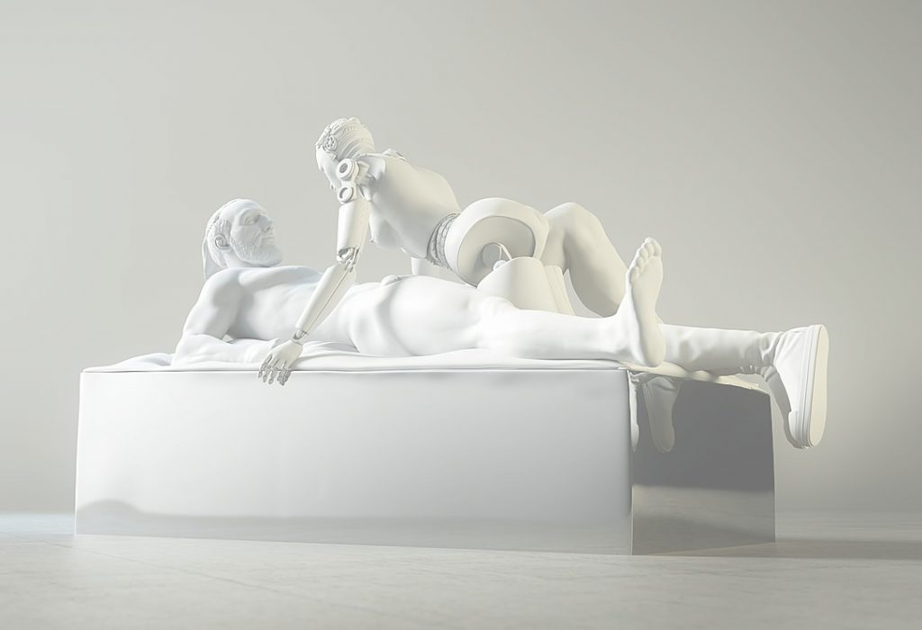 Kossi Aguessy Previous Known as Love, 2016, matte white coated polished aluminium
