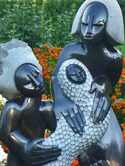 Shona sculpture Family And Child Artist Unknown